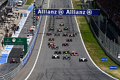 Felipe Massa of Brazil and Williams leads as the cars approach the first corner during the Austrian Formula One Grand Prix at Red Bull Ring on June...