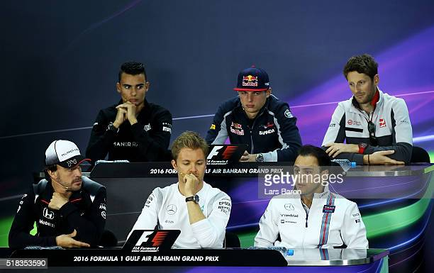 Felipe Massa of Brazil and Williams Nico Rosberg of Germany and Mercedes GP Fernando Alonso of Spain and McLaren Honda Pascal Wehrlein of Germany and...