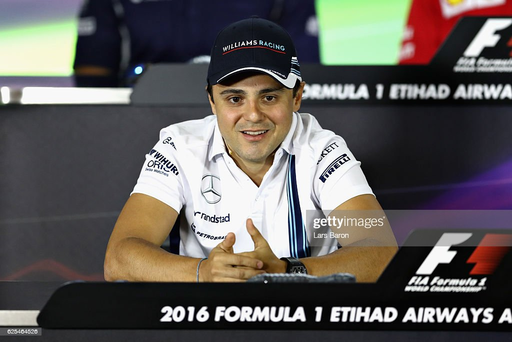 Felipe Massa of Brazil and Williams talks in the Drivers Press Conference ahead of his final F1 race during previews for the Abu Dhabi Formula One Grand Prix at Yas Marina Circuit on November 24, 2016 in Abu Dhabi, United Arab Emirates.