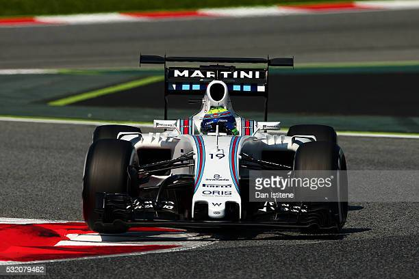 Felipe Massa of Brazil drives the 9 Williams Martini Racing Williams FW38 Mercedes PU106C Hybrid turbo during day two of formula one testing at...