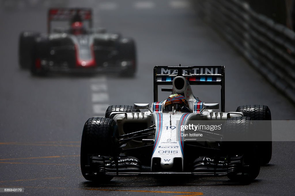 <a gi-track='captionPersonalityLinkClicked' href=/galleries/search?phrase=Felipe+Massa&family=editorial&specificpeople=206660 ng-click='$event.stopPropagation()'>Felipe Massa</a> of Brazil drives the 9 Williams Martini Racing Williams FW38 Mercedes PU106C Hybrid turbo during the Monaco Formula One Grand Prix at Circuit de Monaco on May 29, 2016 in Monte-Carlo, Monaco.