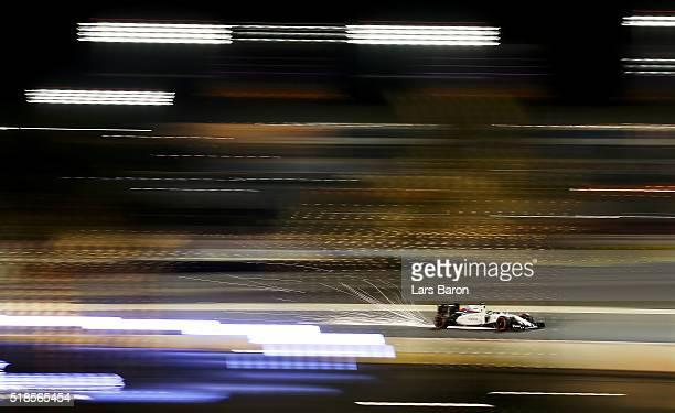 Felipe Massa of Brazil drives the Williams Martini Racing Williams FW38 Mercedes PU106C Hybrid turbo on track during practice for the Bahrain Formula...