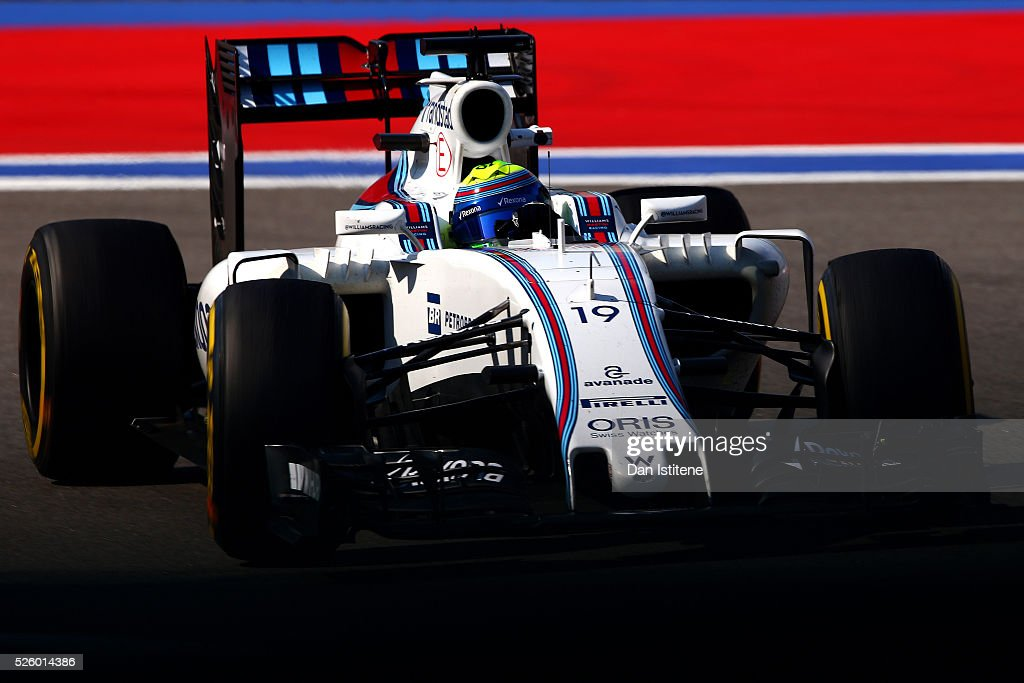<a gi-track='captionPersonalityLinkClicked' href=/galleries/search?phrase=Felipe+Massa&family=editorial&specificpeople=206660 ng-click='$event.stopPropagation()'>Felipe Massa</a> of Brazil driving the (19) Williams Martini Racing Williams FW38 Mercedes PU106C Hybrid turbo on track during practice for the Formula One Grand Prix of Russia at Sochi Autodrom on April 29, 2016 in Sochi, Russia.