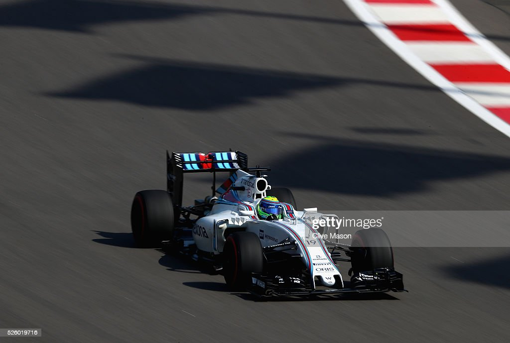 Felipe Massa of Brazil driving the (19) Williams Martini Racing Williams FW38 Mercedes PU106C Hybrid turbo on track during practice for the Formula One Grand Prix of Russia at Sochi Autodrom on April 29, 2016 in Sochi, Russia.