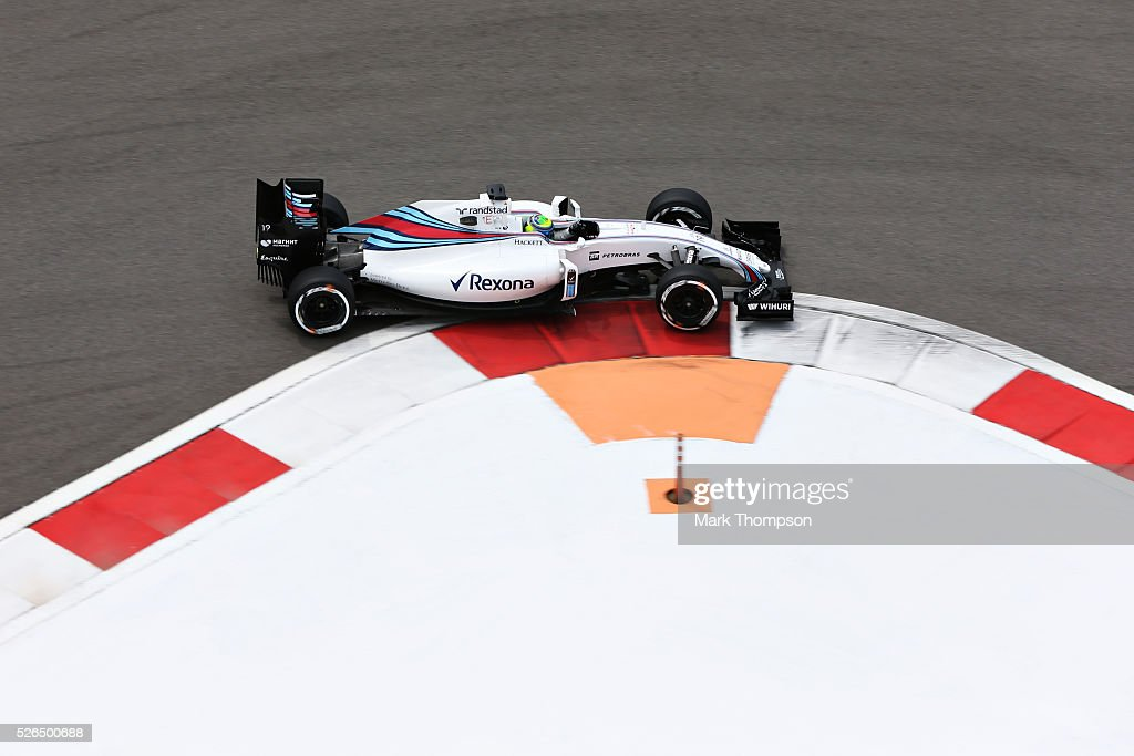 Felipe Massa of Brazil driving the (19) Williams Martini Racing Williams FW38 Mercedes PU106C Hybrid turbo on track during final practice ahead of the Formula One Grand Prix of Russia at Sochi Autodrom on April 30, 2016 in Sochi, Russia.