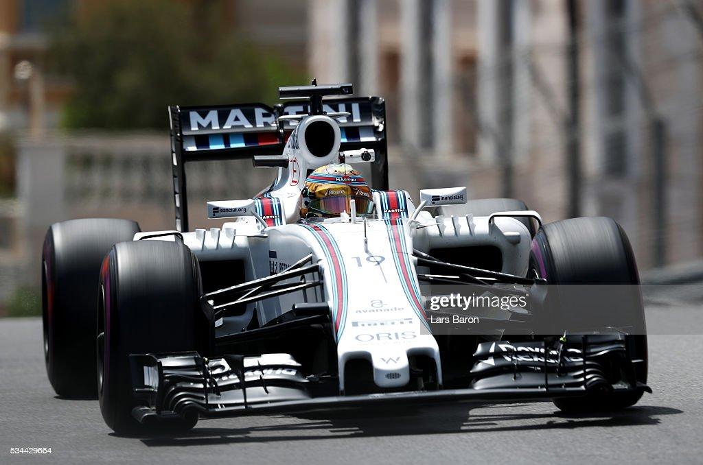 <a gi-track='captionPersonalityLinkClicked' href=/galleries/search?phrase=Felipe+Massa&family=editorial&specificpeople=206660 ng-click='$event.stopPropagation()'>Felipe Massa</a> of Brazil driving the (19) Williams Martini Racing Williams FW38 Mercedes PU106C Hybrid turbo on track during practice for the Monaco Formula One Grand Prix at Circuit de Monaco on May 26, 2016 in Monte-Carlo, Monaco.