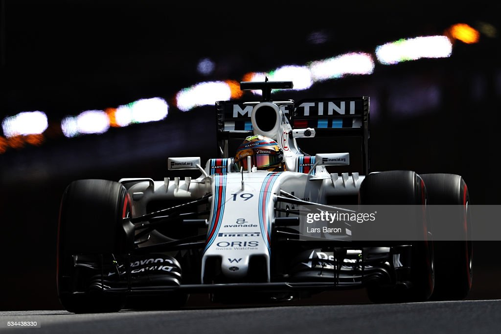 <a gi-track='captionPersonalityLinkClicked' href=/galleries/search?phrase=Felipe+Massa&family=editorial&specificpeople=206660 ng-click='$event.stopPropagation()'>Felipe Massa</a> of Brazil driving the (19) Williams Martini Racing Williams FW38 Mercedes PU106C Hybrid turbo on track during practice for the Monaco Formula One Grand Prix at Circuit de Monaco on May 26, 2016 in Monte-Carlo, Monaco.