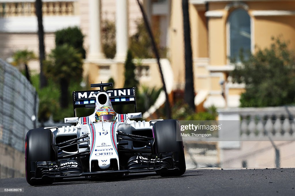 <a gi-track='captionPersonalityLinkClicked' href=/galleries/search?phrase=Felipe+Massa&family=editorial&specificpeople=206660 ng-click='$event.stopPropagation()'>Felipe Massa</a> of Brazil driving the (19) Williams Martini Racing Williams FW38 Mercedes PU106C Hybrid turbo on track during final practice ahead of the Monaco Formula One Grand Prix at Circuit de Monaco on May 28, 2016 in Monte-Carlo, Monaco.
