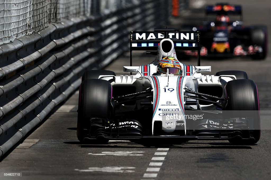 <a gi-track='captionPersonalityLinkClicked' href=/galleries/search?phrase=Felipe+Massa&family=editorial&specificpeople=206660 ng-click='$event.stopPropagation()'>Felipe Massa</a> of Brazil driving the (19) Williams Martini Racing Williams FW38 Mercedes PU106C Hybrid turbo on track during qualifying for the Monaco Formula One Grand Prix at Circuit de Monaco on May 28, 2016 in Monte-Carlo, Monaco.