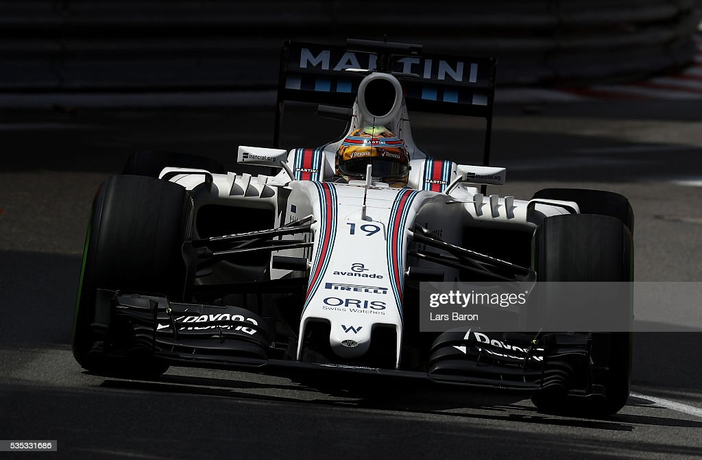 <a gi-track='captionPersonalityLinkClicked' href=/galleries/search?phrase=Felipe+Massa&family=editorial&specificpeople=206660 ng-click='$event.stopPropagation()'>Felipe Massa</a> of Brazil driving the (19) Williams Martini Racing Williams FW38 Mercedes PU106C Hybrid turbo on track during the Monaco Formula One Grand Prix at Circuit de Monaco on May 29, 2016 in Monte-Carlo, Monaco.