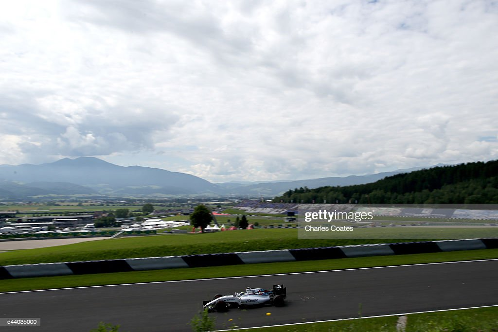 <a gi-track='captionPersonalityLinkClicked' href=/galleries/search?phrase=Felipe+Massa&family=editorial&specificpeople=206660 ng-click='$event.stopPropagation()'>Felipe Massa</a> of Brazil driving the (19) Williams Martini Racing Williams FW38 Mercedes PU106C Hybrid turbo on track during practice for the Formula One Grand Prix of Austria at Red Bull Ring on July 1, 2016 in Spielberg, Austria.