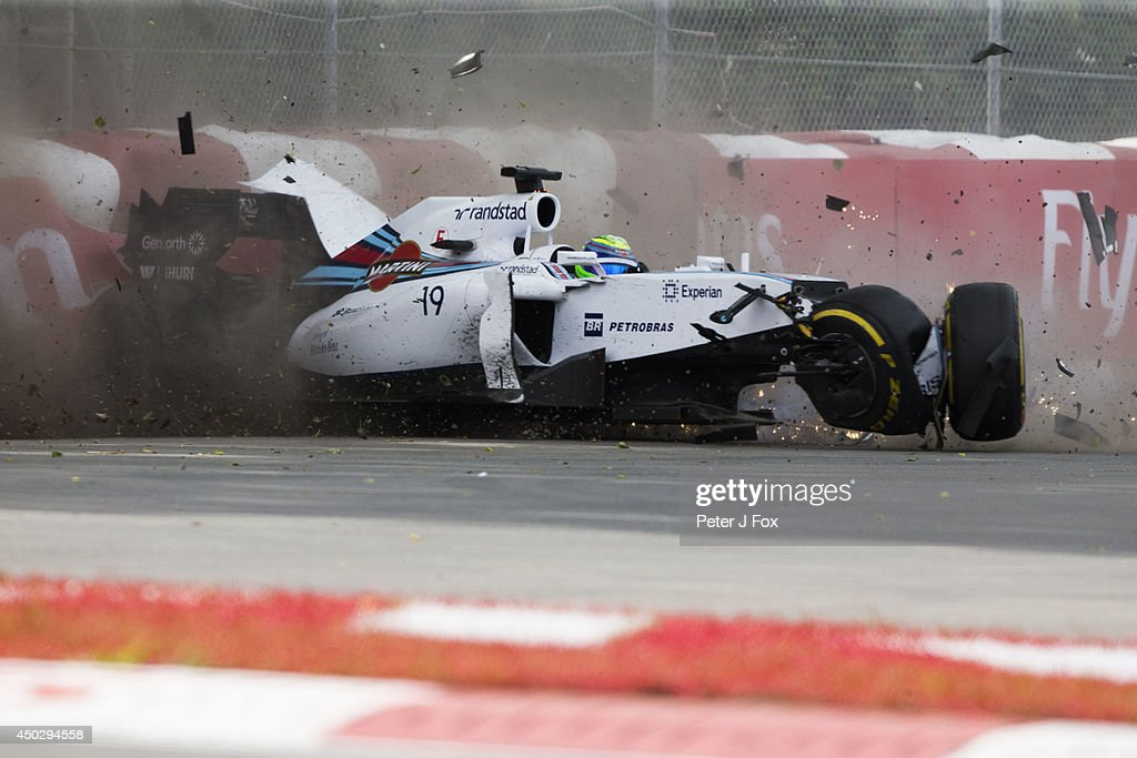 <a gi-track='captionPersonalityLinkClicked' href=/galleries/search?phrase=Felipe+Massa&family=editorial&specificpeople=206660 ng-click='$event.stopPropagation()'>Felipe Massa</a> of Williams and Brazil crashes out of the Canadian F1 Grand Prix at Circuit Gilles Villeneuve on June 8, 2014 in Montreal, Canada.