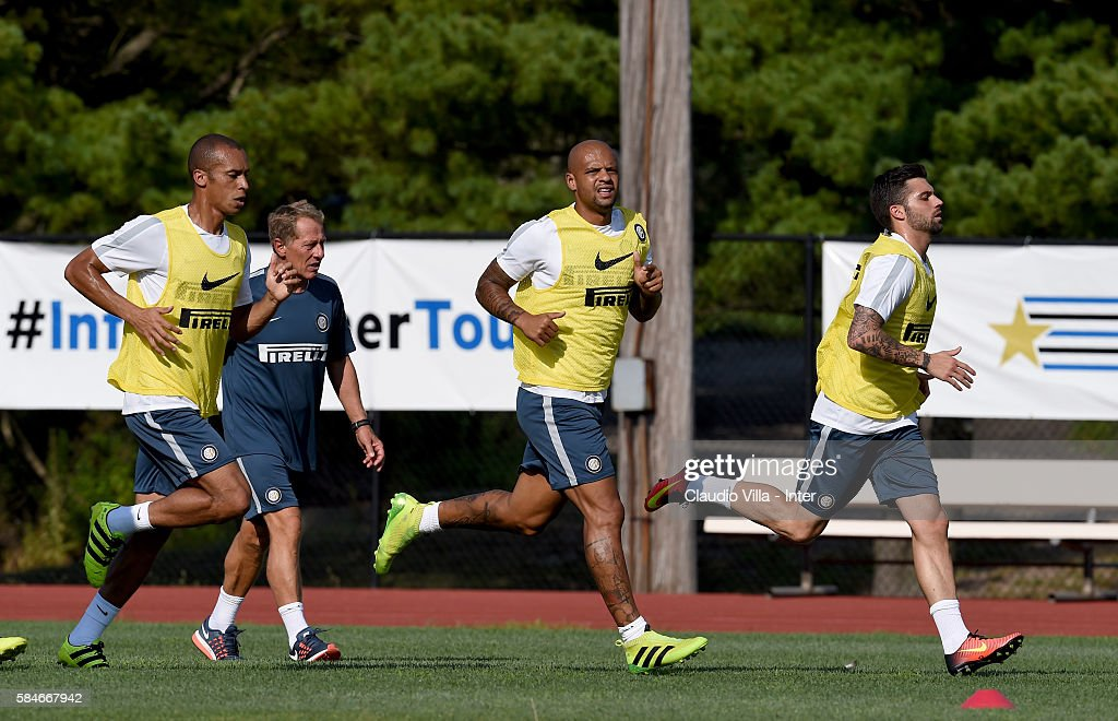 Felipe Melo in action during the FC Internazionale training session at Montclair State University on July 29 2016 in Montclair United States