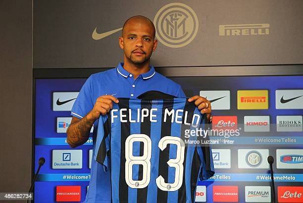 Felipe Melo new signing for FC Internazionale Milano pose with the club shirt during a press conference at the club's training ground on September 3...