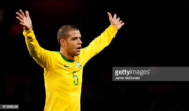 Felipe Melo of Brasil in action during the International Friendly match between Republic of Ireland and Brazil played at Emirates Stadium on March 2...