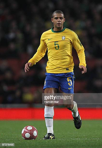 Felipe Melo of Brazil in action during the International Friendly match between Republic of Ireland and Brazil played at Emirates Stadium on March 2...