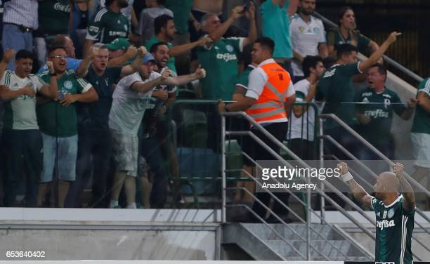 Felipe Melo of Brazil's Palmeiras celebrates after Yerry Mina goal scored against Bolivia's Jorge Wilstermann during their 2017 Copa Libertadores...