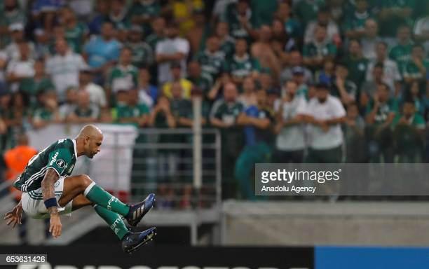 Felipe Melo of Brazil's Palmeiras jumps during a match between Palmeiras and Jorge Wilstermann as part of Libertadores Cup football match held at...