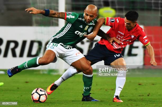 Felipe Melo of Brazil's Palmeiras vies for the ball with Thomas Santos of Bolivia's Jorge Wilstermann during their Libertadores Cup football match...