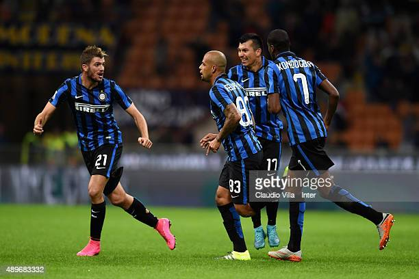 Felipe Melo of FC Internazionale celebrates after scoring the opening goal during the Serie A match between FC Internazionale Milano and Hellas...