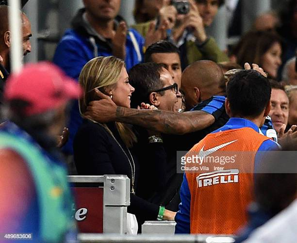 Felipe Melo of FC Internazionale celebrates with his wife after scoring the opening goal during the Serie A match between FC Internazionale Milano...