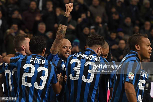 Felipe Melo of FC Internazionale Milano celebrates after his teammate Joao Miranda scored a goal during the Serie A match between FC Internazionale...