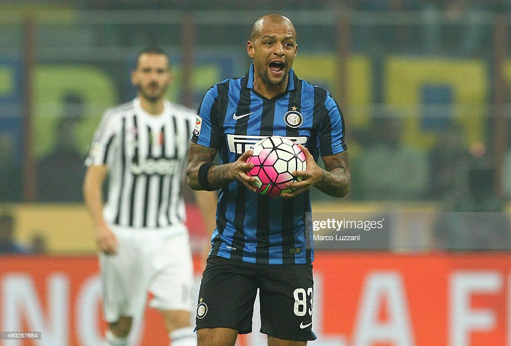<a gi-track='captionPersonalityLinkClicked' href=/galleries/search?phrase=Felipe+Melo&family=editorial&specificpeople=646942 ng-click='$event.stopPropagation()'>Felipe Melo</a> of FC Internazionale Milano reacts during the Serie A match between FC Internazionale Milano and Juventus FC at Stadio Giuseppe Meazza on October 18, 2015 in Milan, Italy.