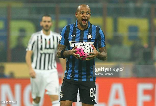 Felipe Melo of FC Internazionale Milano reacts during the Serie A match between FC Internazionale Milano and Juventus FC at Stadio Giuseppe Meazza on...