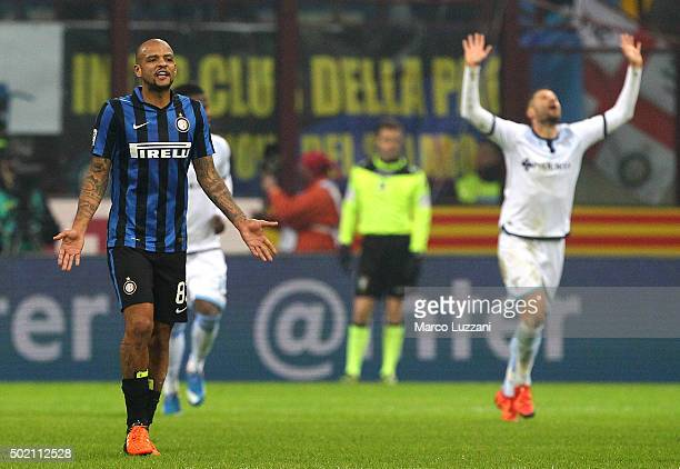 Felipe Melo of FC Internazionale Milano shows his dejection during the Serie A match between FC Internazionale Milano and SS Lazio at Stadio Giuseppe...