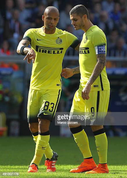 Felipe Melo of FC Internazionale Milano speaks to Mauro Emanuel Icardi during the Serie A match between UC Sampdoria and FC Internazionale Milano at...