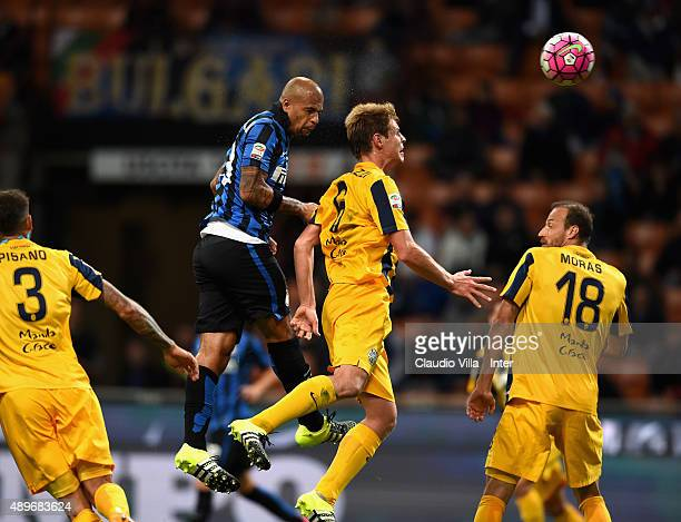 Felipe Melo of FC Internazionale scores the opening goal during the Serie A match between FC Internazionale Milano and Hellas Verona FC at Stadio...