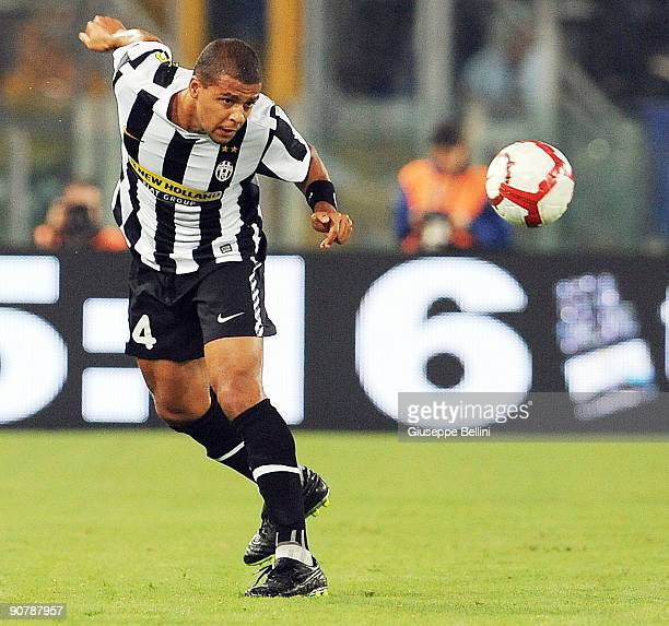 Felipe Melo of FC Juventus heads the ball during the Serie A match between SS Lazio v FC Juventus at Stadio Olimpico on September 12 2009 in Rome...