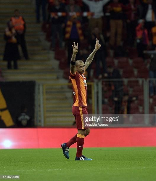 Felipe Melo of Galatasaray celebrates his score during the Ziraat Turkish Cup semifinal 1st match between Galatasaray and Sivasspor at Turk Telekom...