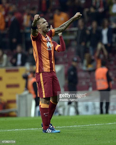 Felipe Melo of Galatasaray celebrates his team's score after Turkish Spor Toto Super League football match between Galatasaray and Torku Konyaspor in...
