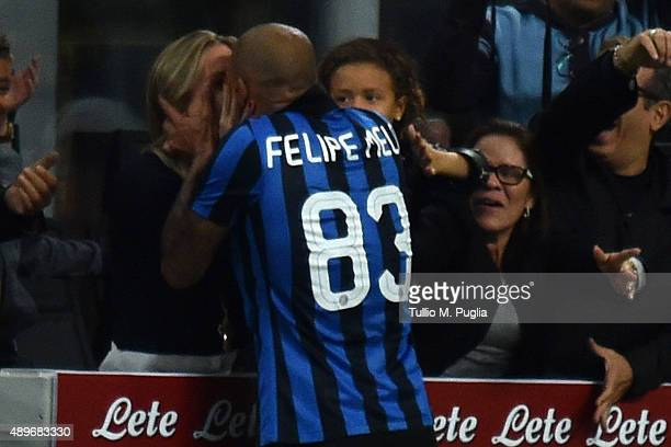 Felipe Melo of Internazionale Milano celebrates after scoring the opening goal during the Serie A match between FC Internazionale Milano and Hellas...