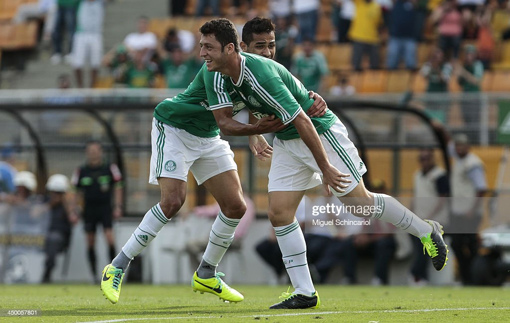 Felipe Menezes (R) of Palmeiras celebrate a goal during the match between Palmeiras and Boa Esporte for the Brazilian Championship Series B 2013 at Pacaembu Stadium on November 16, 2013 in Sao Paulo, Brazil.