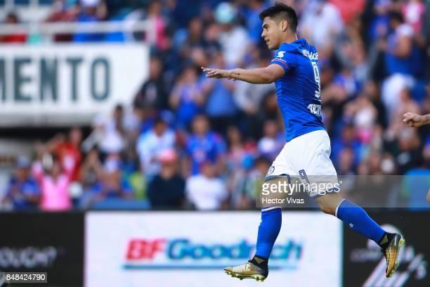 Felipe Mora of Cruz Azul celebrates after scoring the first goal of his team during the 9th round match between Cruz Azul and Santos Laguna as part...