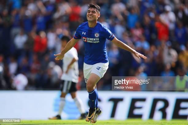 Felipe Mora of Cruz Azul celebrates after scoring the second goal of his team during the fifth round match between Cruz Azul and Atlas as part of the...