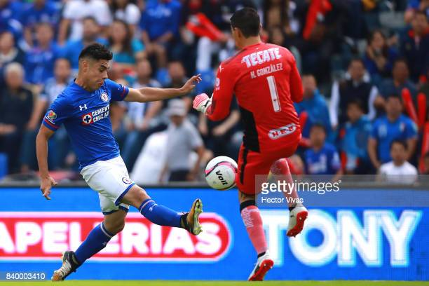 Felipe Mora of Cruz Azul shoots the ball against Hugo Gonzalez of Monterrey during the seventh round match between Cruz Azul and Monterrey as part of...