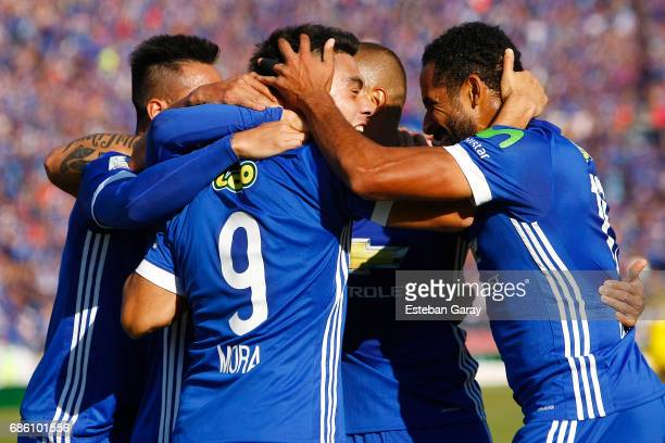 Felipe Mora of Universidad de Chile celebrates after scoring the opening goal during a match between Universidad de Chile and San Luis de Quillota as...