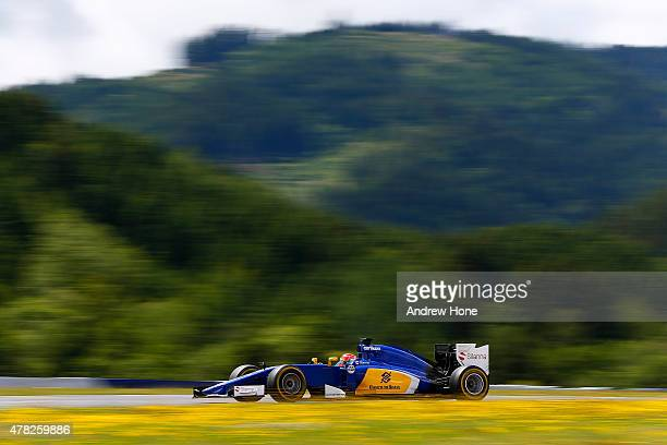 Felipe Nasr of Brazil and Sauber drives during Formula One Testing at the Red Bull Ring on June 24 2015 in Spielberg Austria