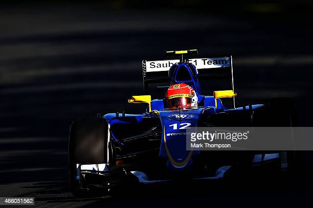 Felipe Nasr of Brazil and Sauber F1 drives during practice for the Australian Formula One Grand Prix at Albert Park on March 13 2015 in Melbourne...