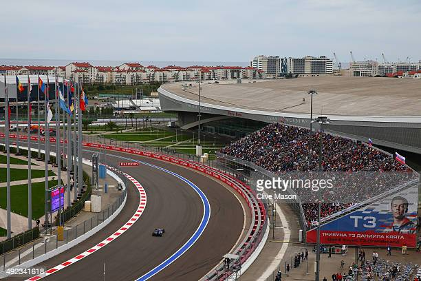 Felipe Nasr of Brazil and Sauber F1 drives during the Formula One Grand Prix of Russia at Sochi Autodrom on October 11 2015 in Sochi Russia