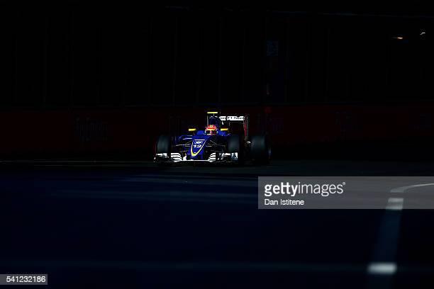 Felipe Nasr of Brazil drives the 2 Sauber F1 Team Sauber C35 Ferrari 059/5 turbo during the European Formula One Grand Prix at Baku City Circuit on...