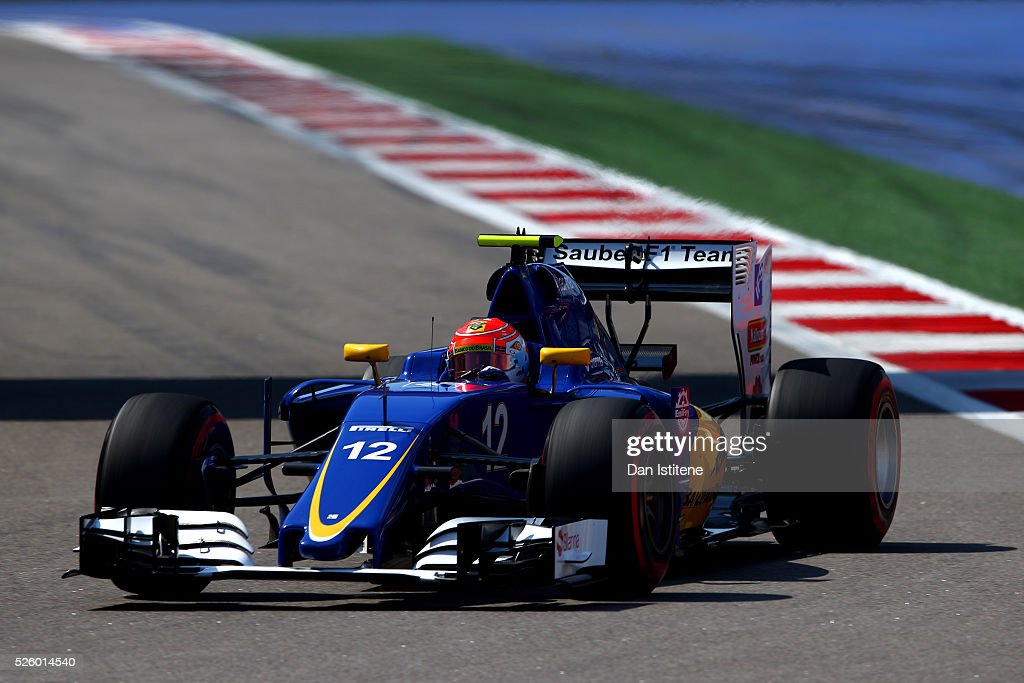 Felipe Nasr of Brazil driving the (12) Sauber F1 Team Sauber C35 Ferrari 059/5 turbo on track during practice for the Formula One Grand Prix of Russia at Sochi Autodrom on April 29, 2016 in Sochi, Russia.