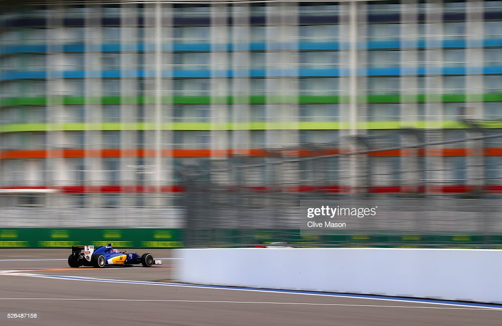 <a gi-track='captionPersonalityLinkClicked' href=/galleries/search?phrase=Felipe+Nasr&family=editorial&specificpeople=7881965 ng-click='$event.stopPropagation()'>Felipe Nasr</a> of Brazil driving the (12) Sauber F1 Team Sauber C35 Ferrari 059/5 turbo on track during final practice ahead of the Formula One Grand Prix of Russia at Sochi Autodrom on April 30, 2016 in Sochi, Russia.