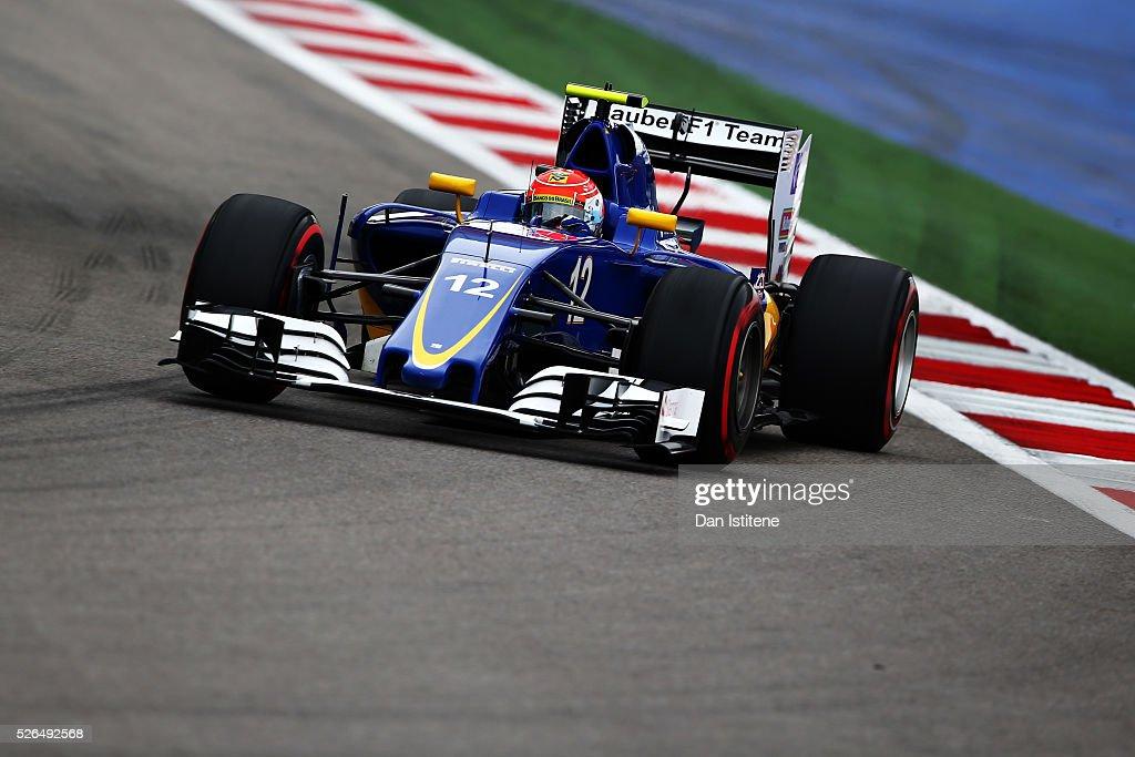 Felipe Nasr of Brazil driving the (12) Sauber F1 Team Sauber C35 Ferrari 059/5 turbo on track during qualifying for the Formula One Grand Prix of Russia at Sochi Autodrom on April 30, 2016 in Sochi, Russia.