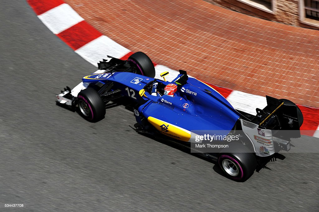 <a gi-track='captionPersonalityLinkClicked' href=/galleries/search?phrase=Felipe+Nasr&family=editorial&specificpeople=7881965 ng-click='$event.stopPropagation()'>Felipe Nasr</a> of Brazil driving the (12) Sauber F1 Team Sauber C35 Ferrari 059/5 turbo on track during practice for the Monaco Formula One Grand Prix at Circuit de Monaco on May 26, 2016 in Monte-Carlo, Monaco.