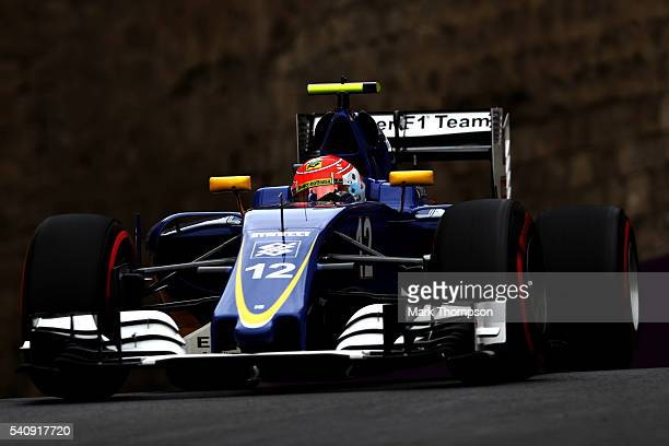 Felipe Nasr of Brazil driving the Sauber F1 Team Sauber C35 Ferrari 059/5 turbo on track during practice for the European Formula One Grand Prix at...