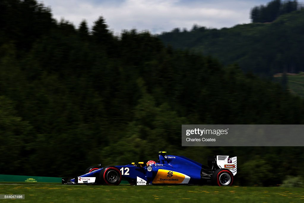 <a gi-track='captionPersonalityLinkClicked' href=/galleries/search?phrase=Felipe+Nasr&family=editorial&specificpeople=7881965 ng-click='$event.stopPropagation()'>Felipe Nasr</a> of Brazil driving the (12) Sauber F1 Team Sauber C35 Ferrari 059/5 turbo on track during practice for the Formula One Grand Prix of Austria at Red Bull Ring on July 1, 2016 in Spielberg, Austria.
